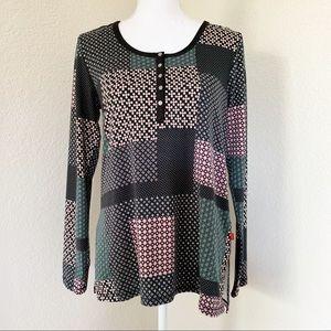 Josie Natori Patchwork Print Henley Sleep Shirt
